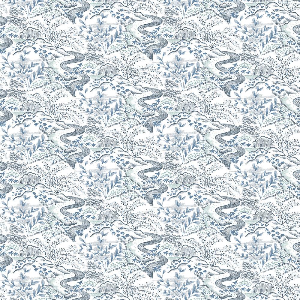 Waterfall Gardens Wallpaper - Blue - by Florence Broadhurst