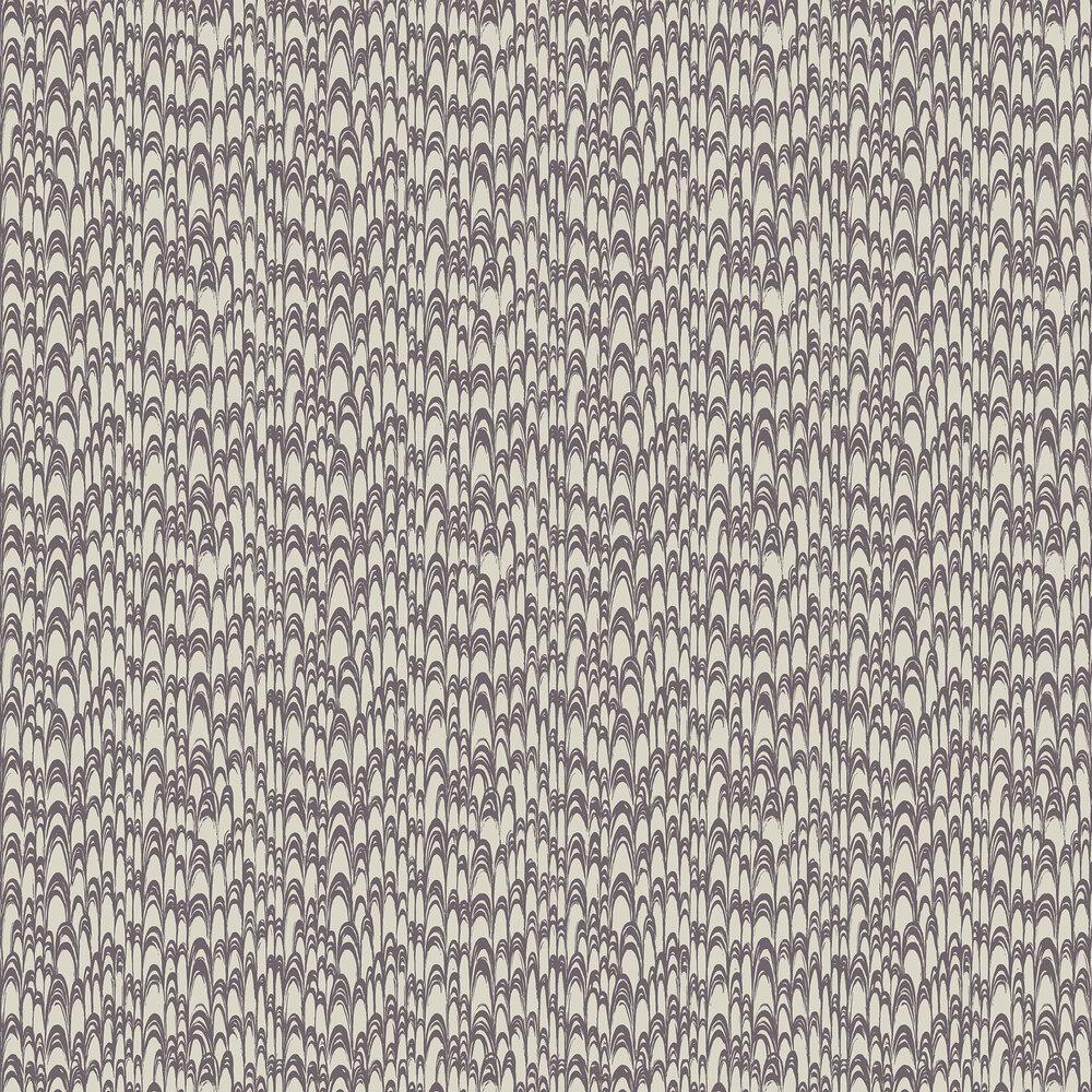 Waterjet Wallpaper - Pewter / Aubergine - by Florence Broadhurst