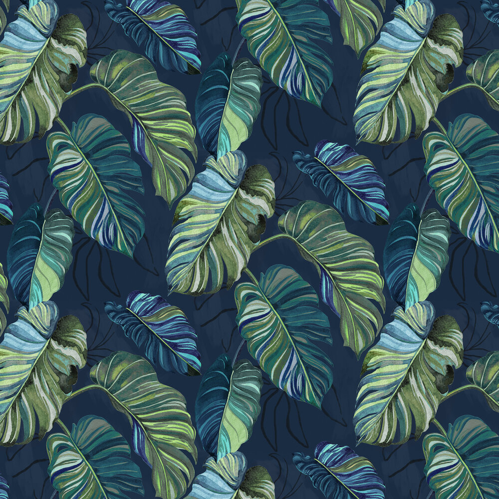 Carioca Wallpaper - Navy - by Coordonne