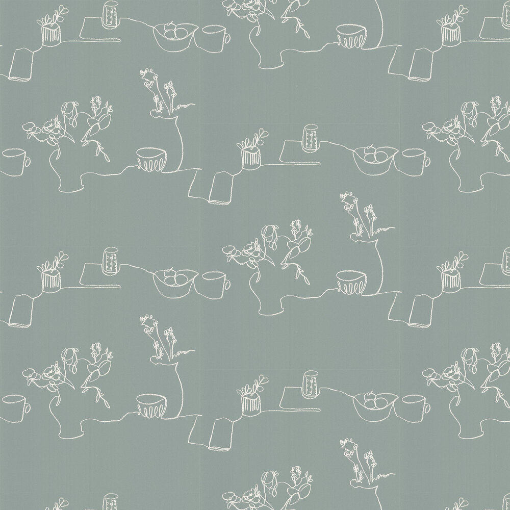 Tabletop Wallpaper - Teal - by Villa Nova