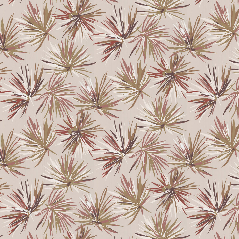 Aucuba Wallpaper - Gold / Rosewood / Parchment - by Harlequin