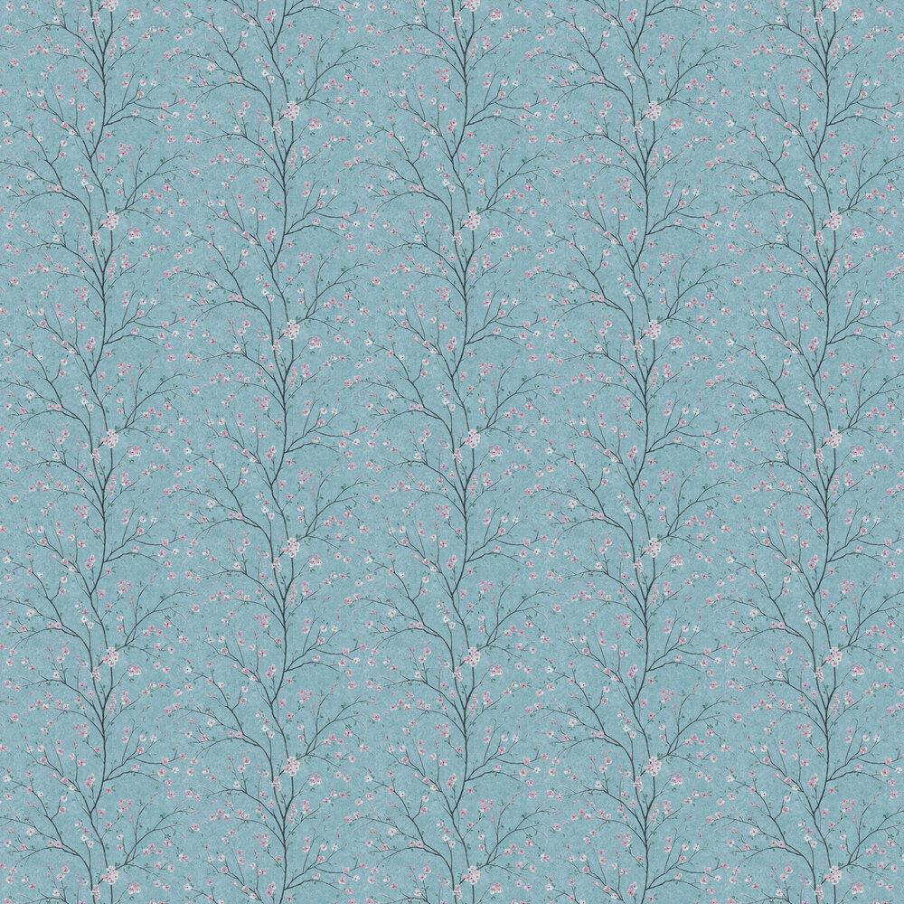 Blossom Wallpaper - Aqua - by Metropolitan Stories