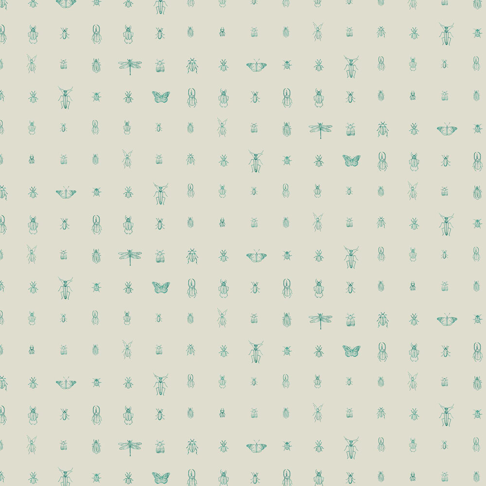 Cleo Wallpaper - Teal - by Elizabeth Ockford