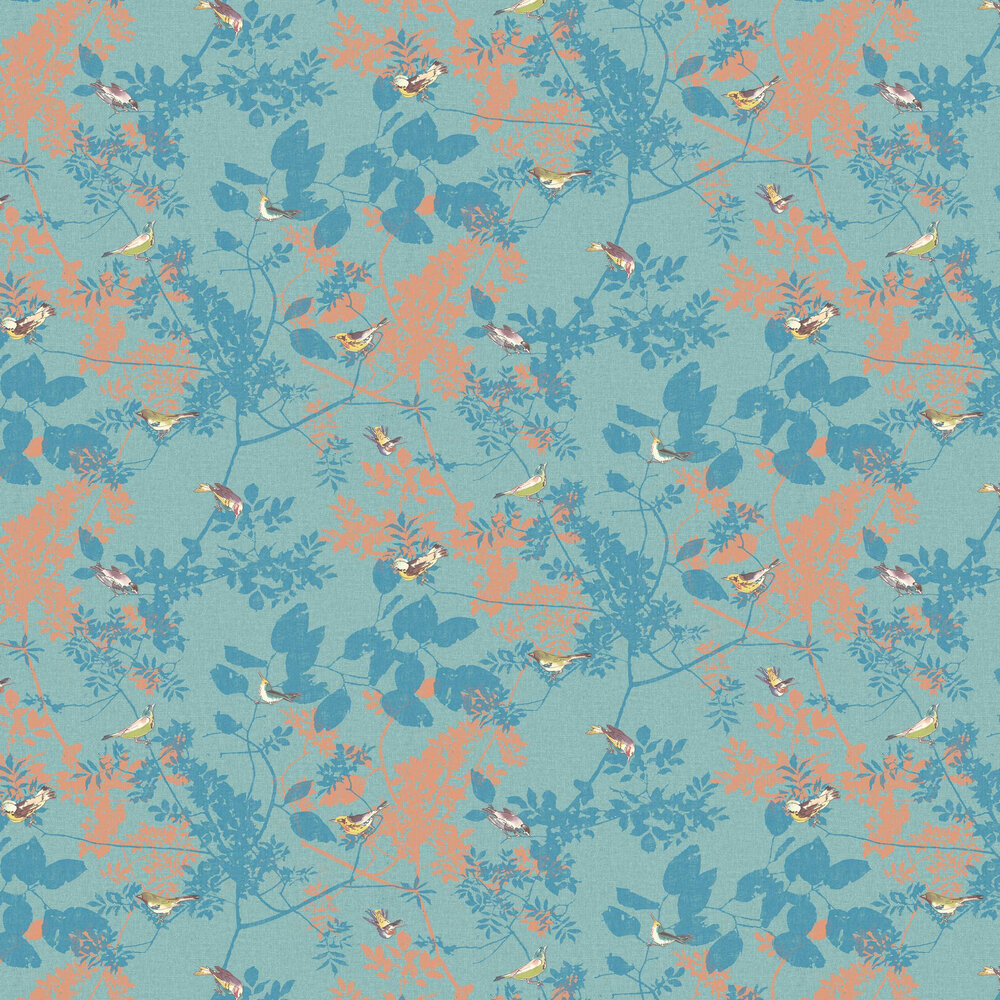 Julia Wallpaper - Teal - by Elizabeth Ockford