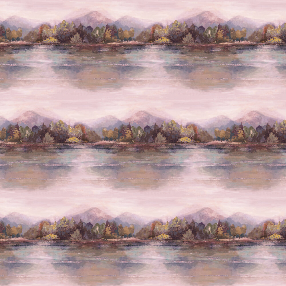 Lakeside Wallpaper - Sunset Pink - by 1838 Wallcoverings