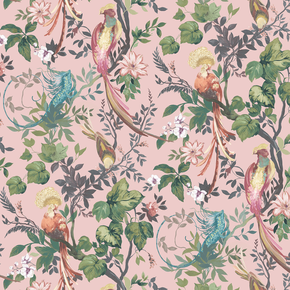 Bird Sonnet Wallpaper - Blush Pink - by 1838 Wallcoverings