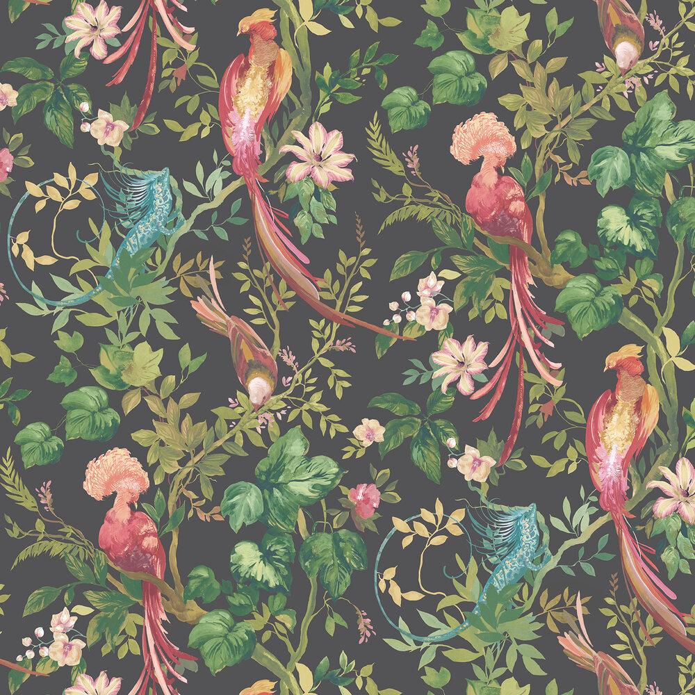 Bird Sonnet Wallpaper - Jet Black - by 1838 Wallcoverings