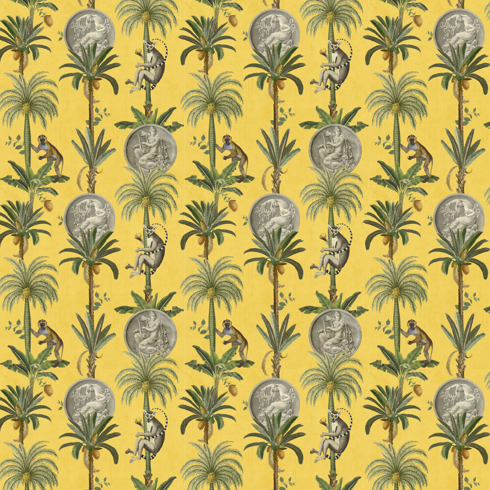Lémurs Wallpaper - Mustard - by Coordonne