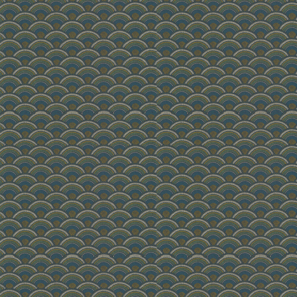 Otto Wallpaper - Marine / Vert Mousse - by Casamance