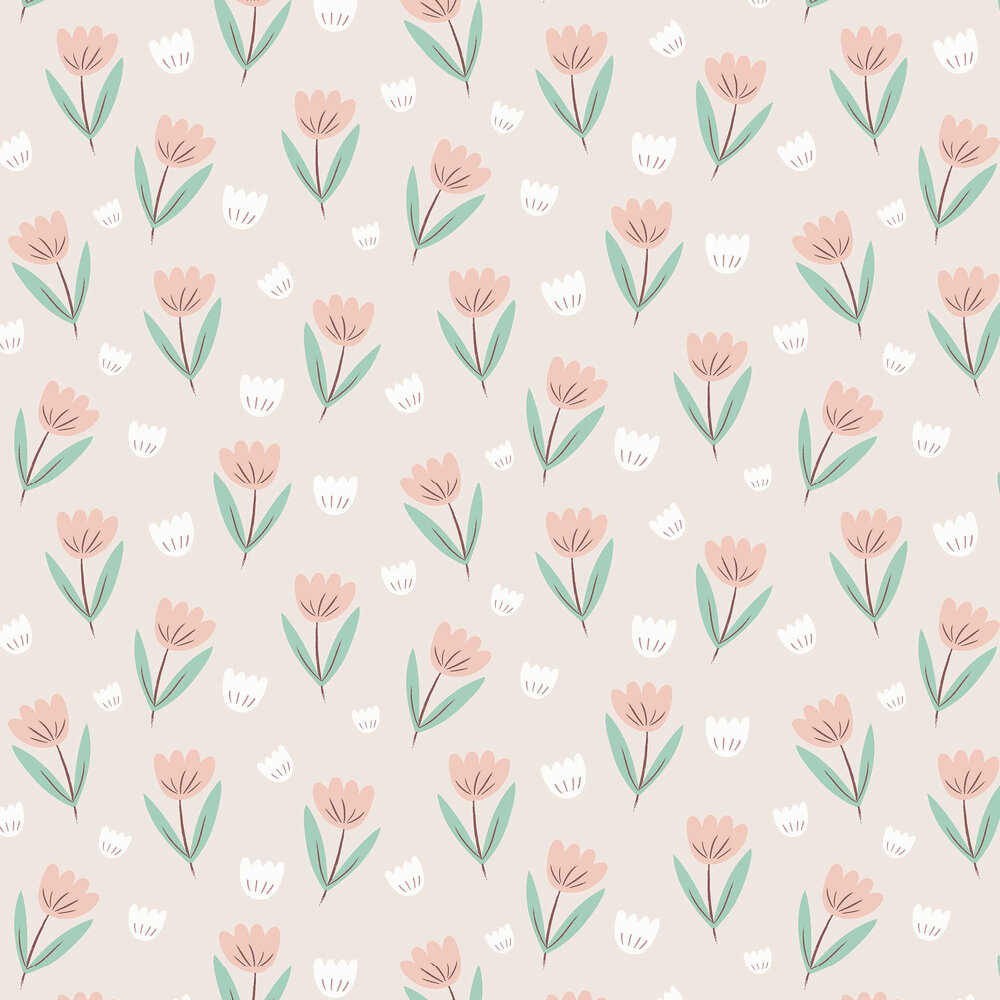 Fleur Wallpaper - Summer Pink / Jade - by Hibou Home