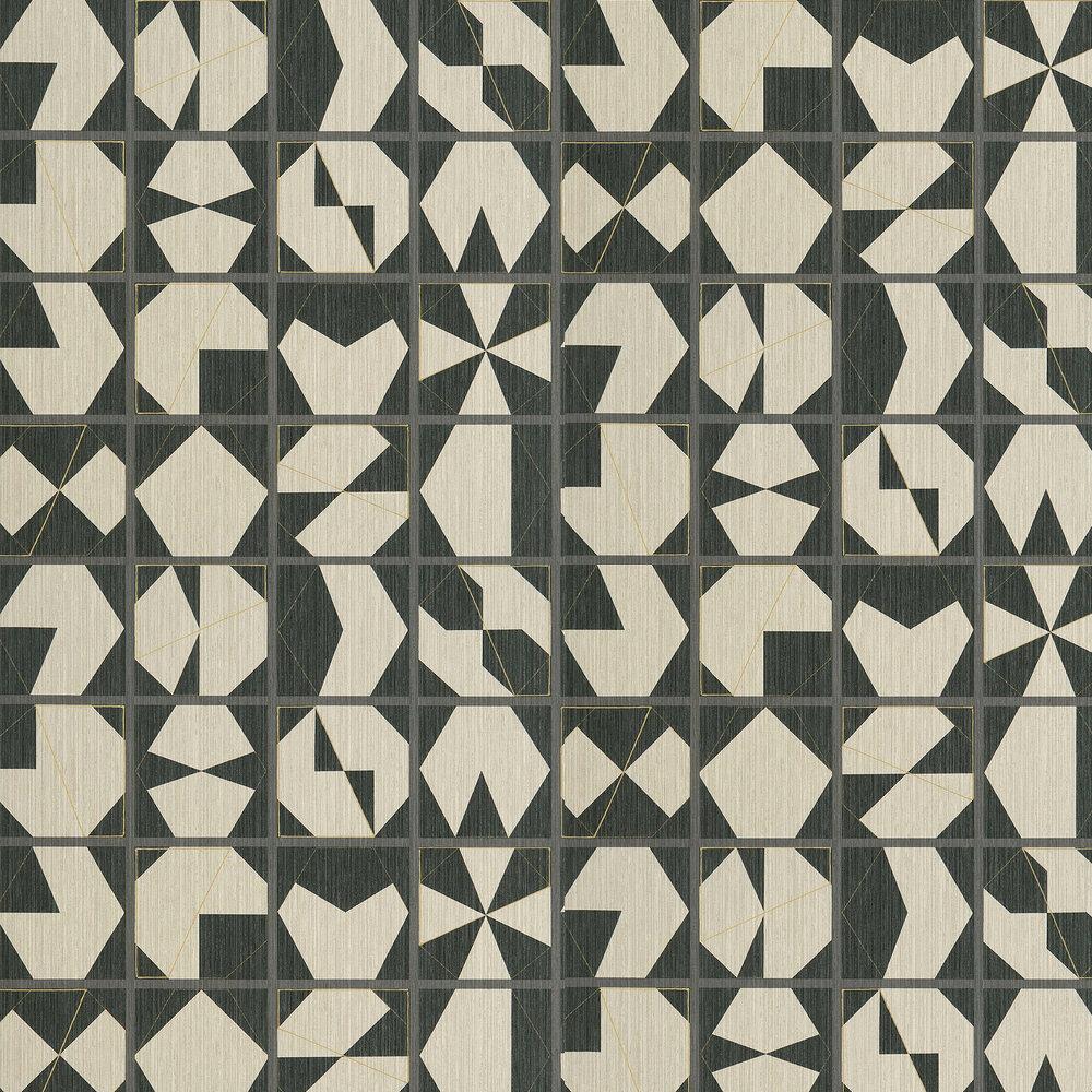 Kutani Vinyl Wallpaper - Ivory/ Charcoal - by Osborne & Little