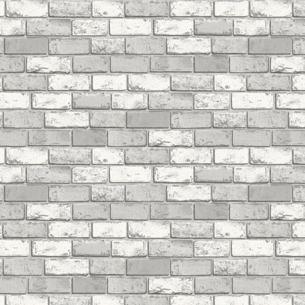 Metallic Brick Wallpaper - White / Silver - by Arthouse