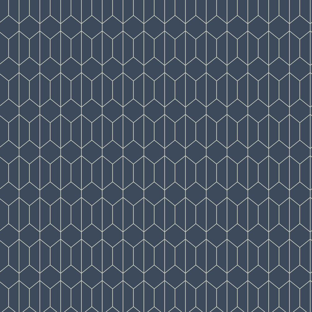 Linear Geo Wallpaper - Navy - by Arthouse