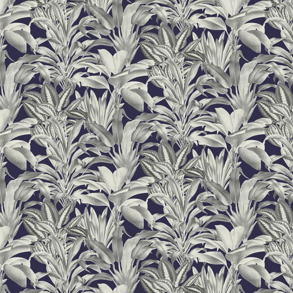 Greenhouse Plants Wallpaper - Navy - by Arthouse