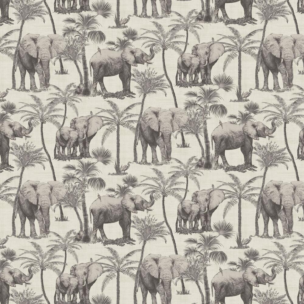 Safari Elephant Wallpaper - Charcoal - by Arthouse