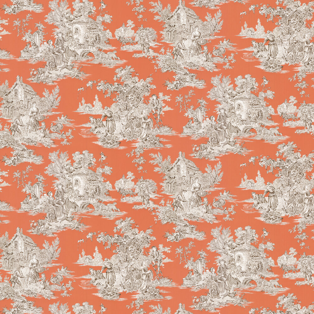Campagne Wallpaper - Corail - by Manuel Canovas