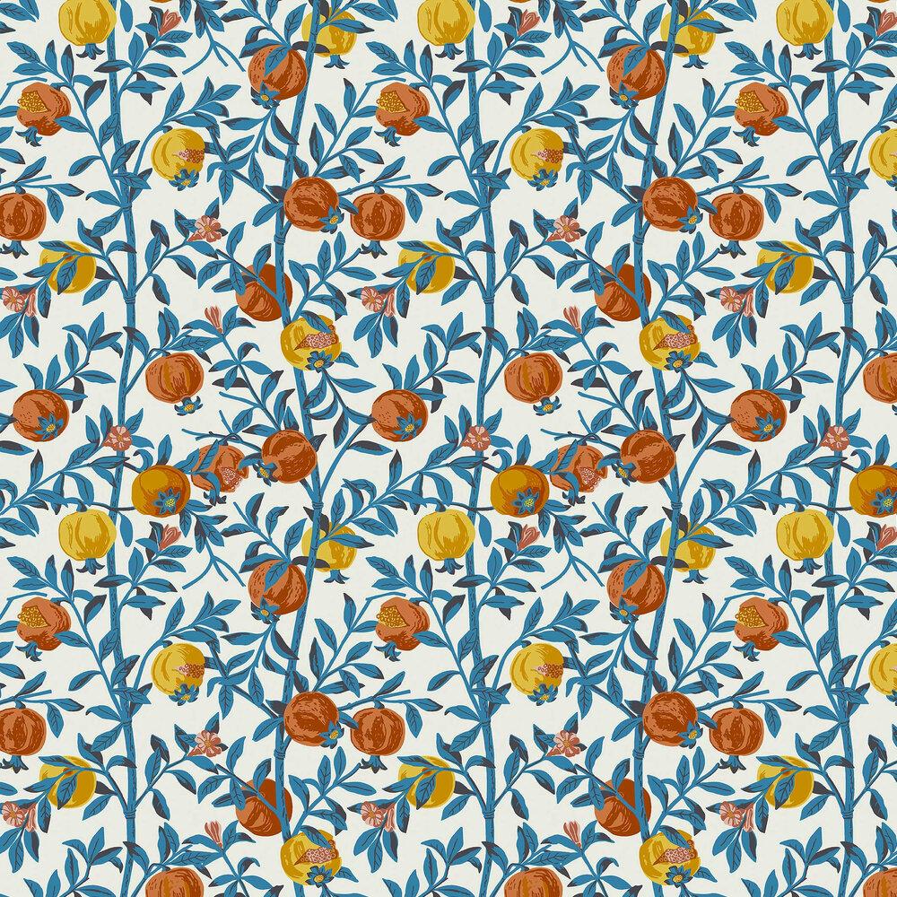 Granatapple Wallpaper - Blue / Orange - by Boråstapeter