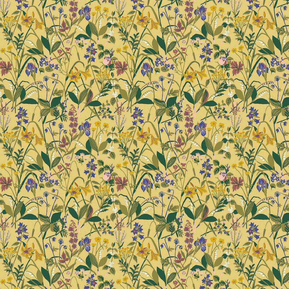 Ros och Lilja Wallpaper - Yellow - by Boråstapeter