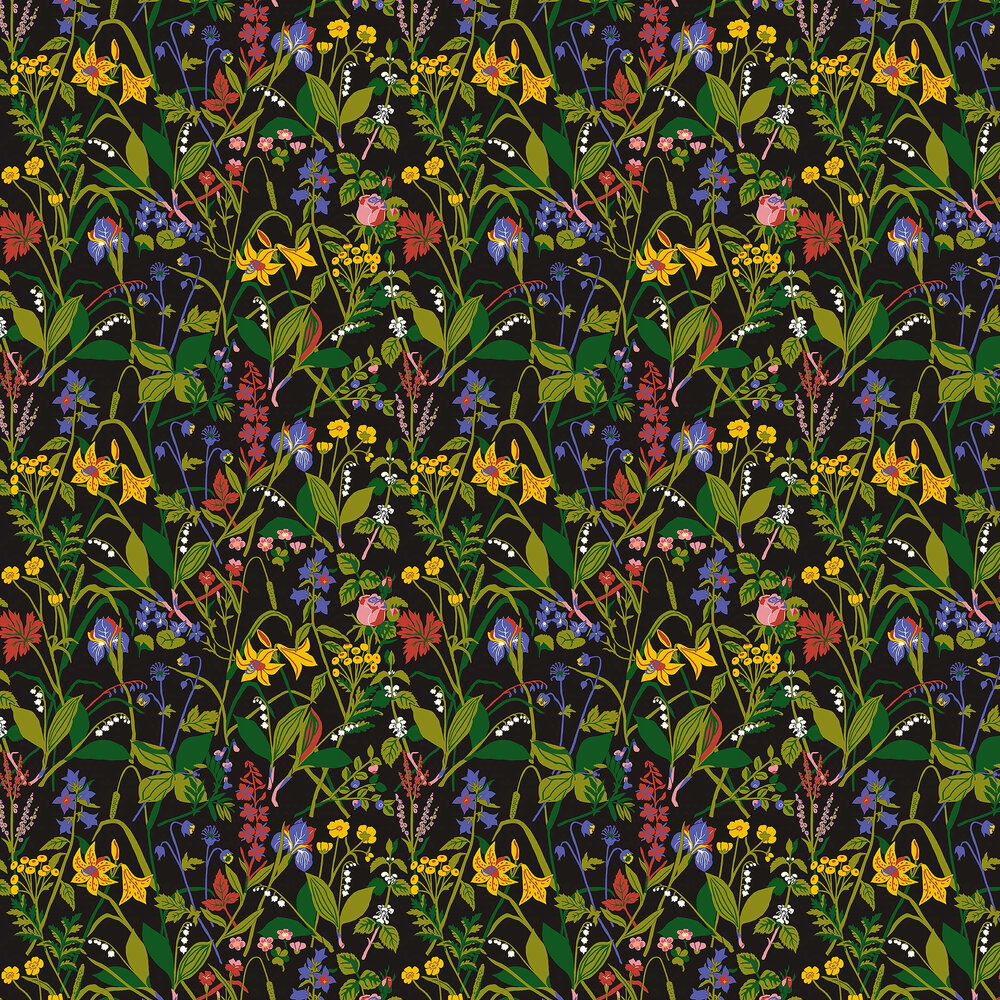 Ros och Lilja Wallpaper - Black - by Boråstapeter