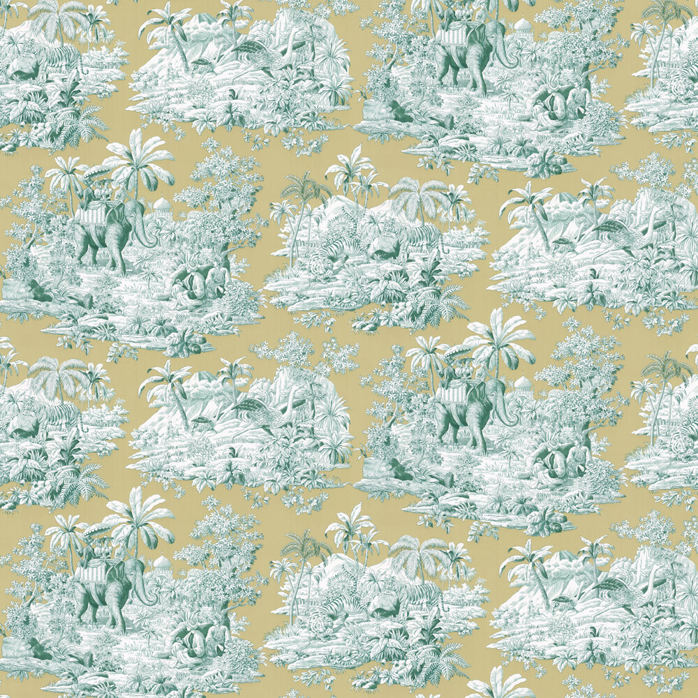 Bengale Wallpaper - Emeraude  - by Manuel Canovas