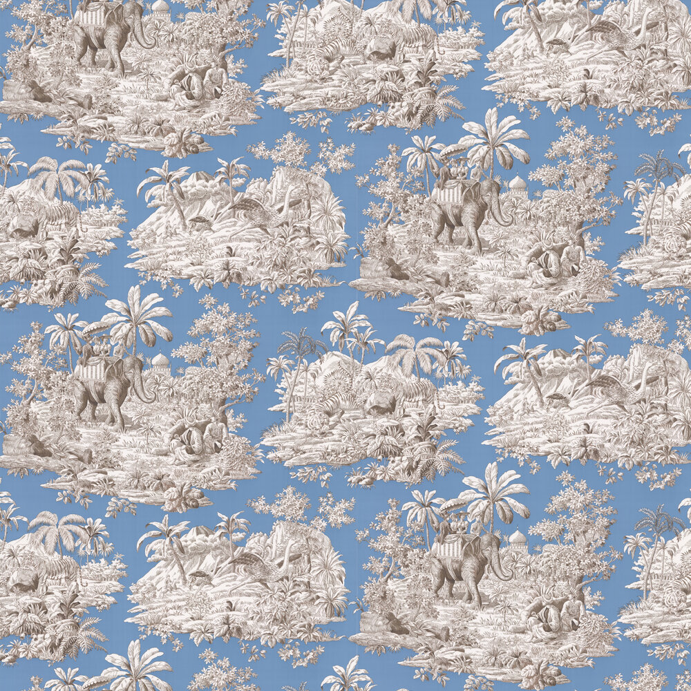 Bengale Wallpaper - Bleu  - by Manuel Canovas