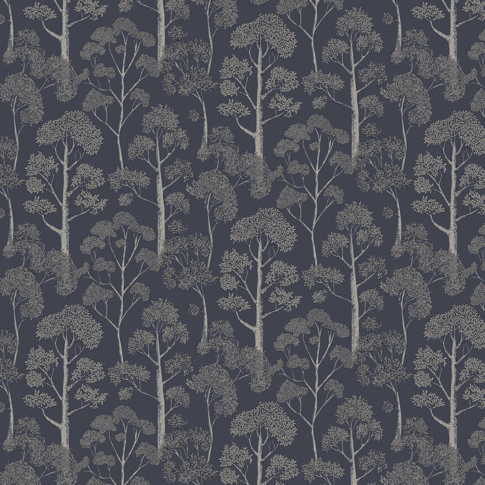 Delamere Wallpaper - Navy/Silver - by Arthouse