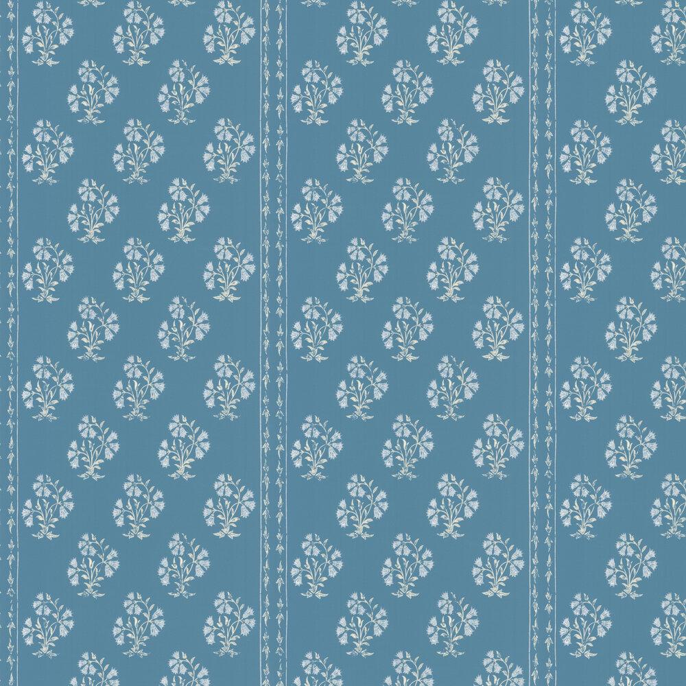 Maharani Block Print Wallpaper - Jaipur Blue - by Barneby Gates