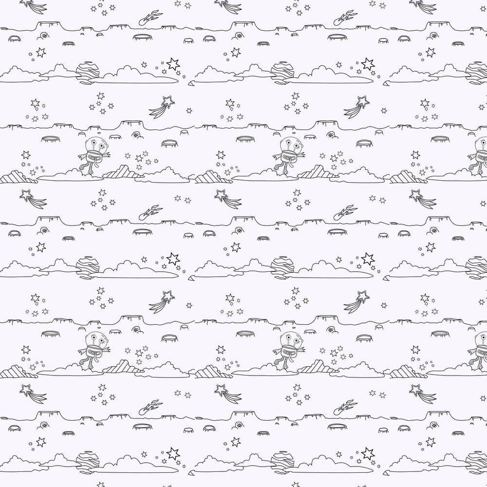 Space Scene Wallpaper - White - by Arthouse