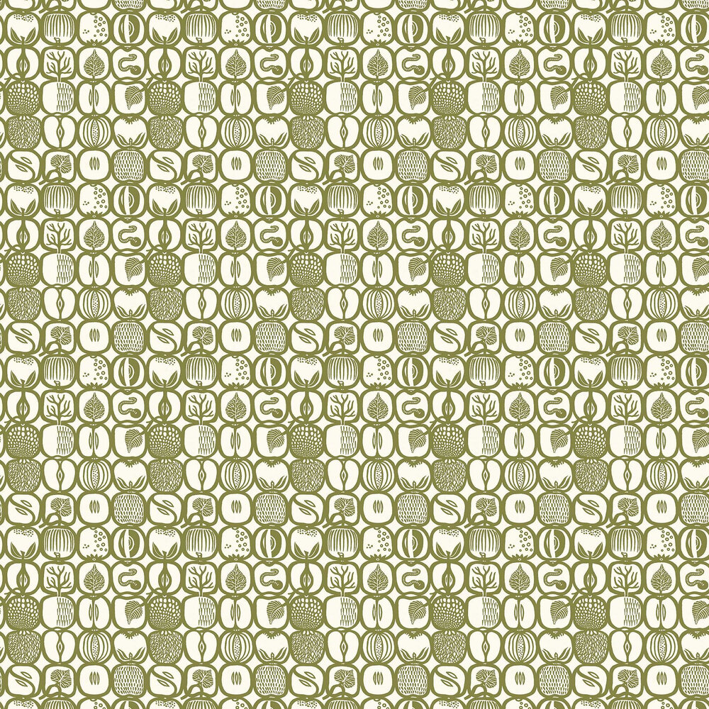 Fruktlada Wallpaper - Moss - by Boråstapeter