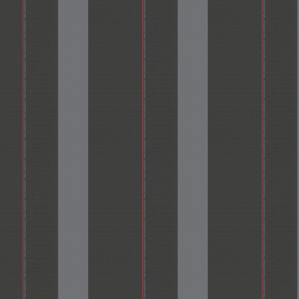 Ribbon Wallpaper - Charcoal - by Karl Lagerfeld