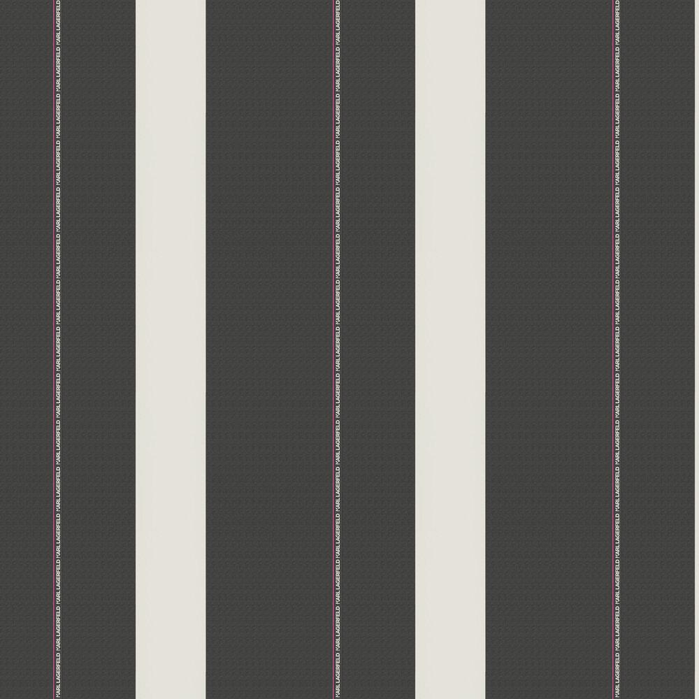 Ribbon Wallpaper - Black - by Karl Lagerfeld