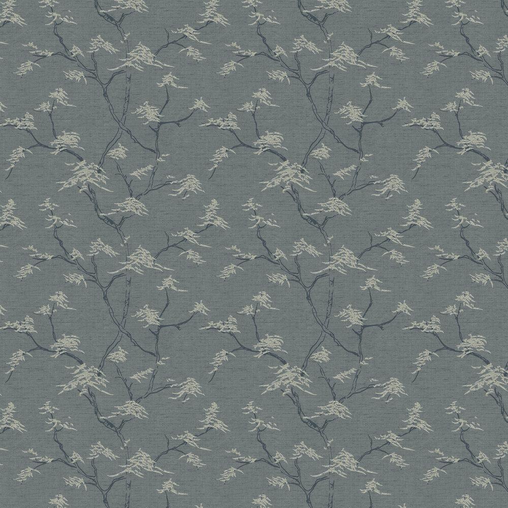 Temple Tree Wallpaper - Slate Blue - by Boråstapeter