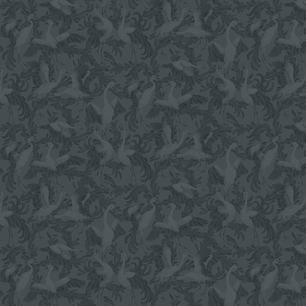 Dancing Crane Wallpaper - Indigo - by Boråstapeter