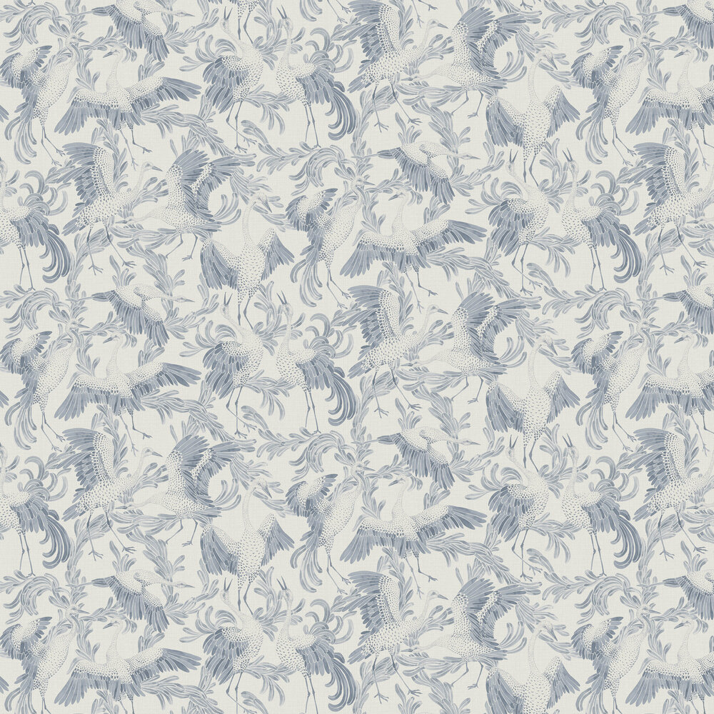 Dancing Crane Wallpaper - Ink and Ivory - by Boråstapeter
