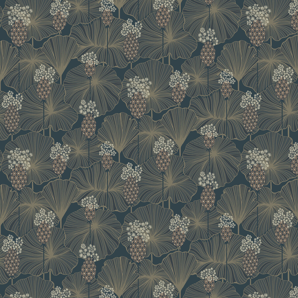 Umbrella Leaves Wallpaper - Indigo - by Boråstapeter