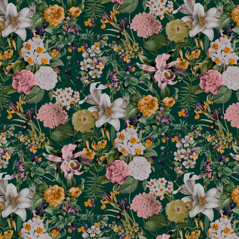 Glasshouse Flora Wallpaper - Emerald - by Graham & Brown