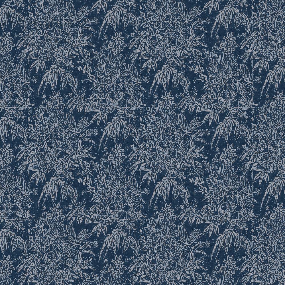 Cherry Orchard Wallpaper - Indigo - by Mind the Gap