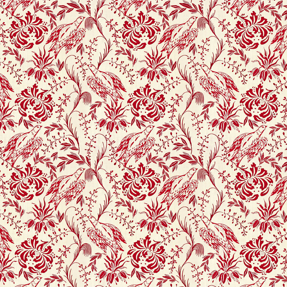 Folk Embroidery Wallpaper - Crimson - by Mind the Gap
