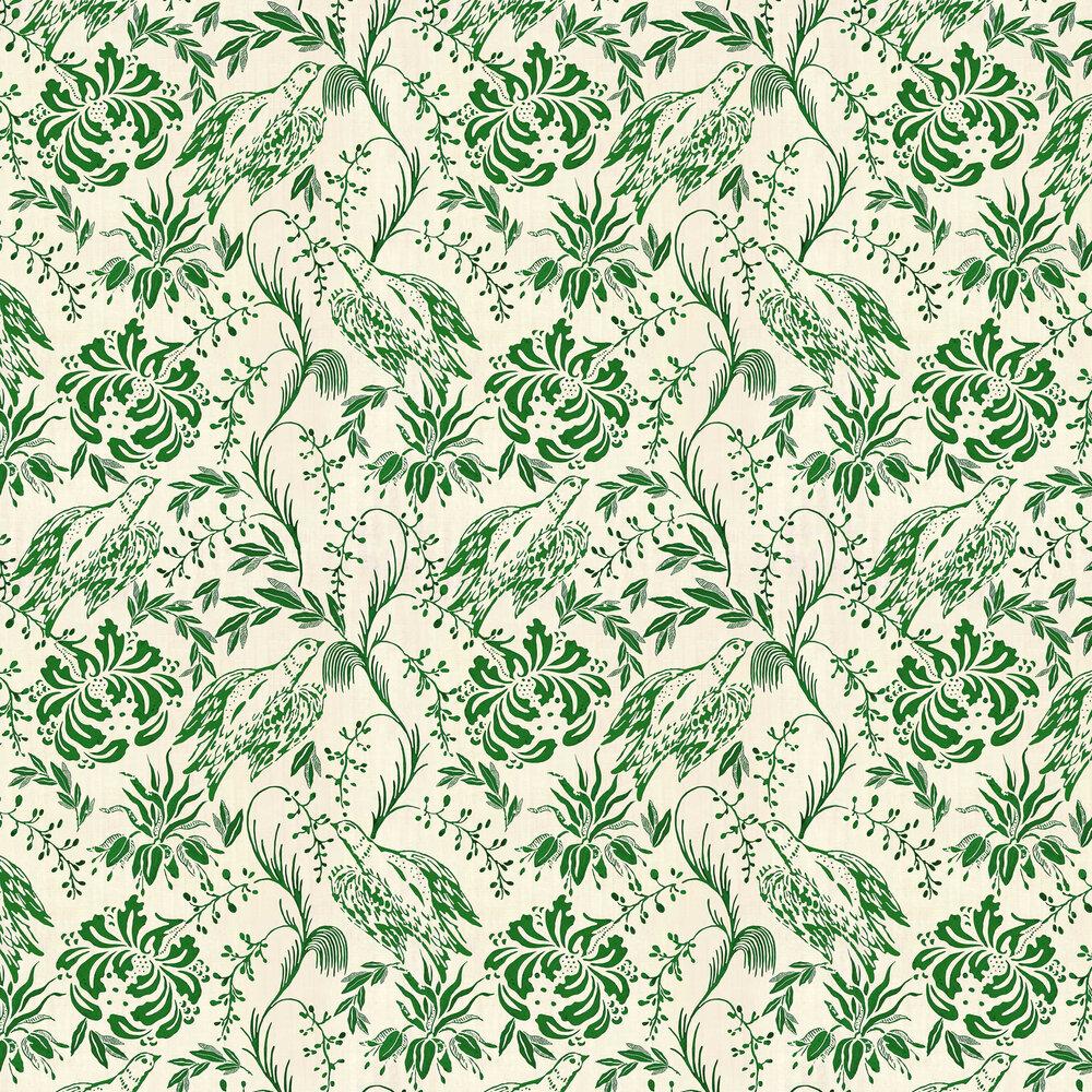 Folk Embroidery Wallpaper - Fern Green - by Mind the Gap