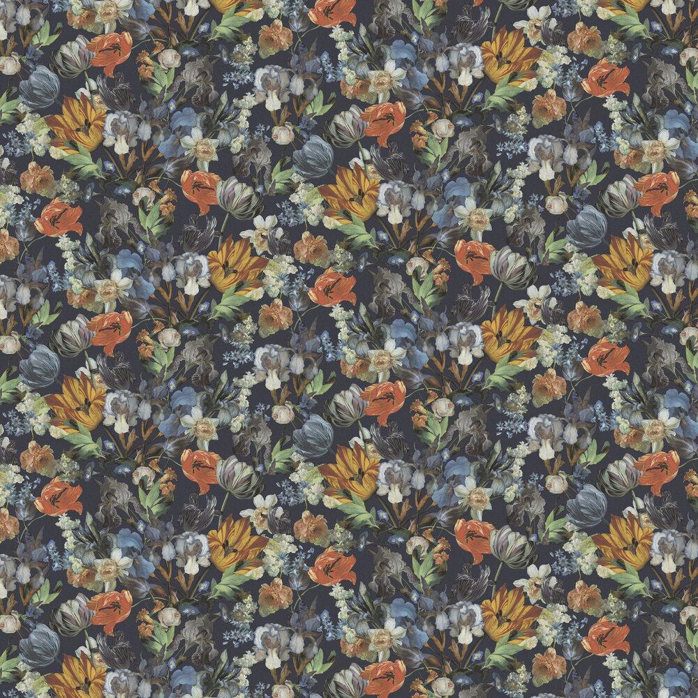 Blooms Wallpaper - Multi / Navy - by Eijffinger