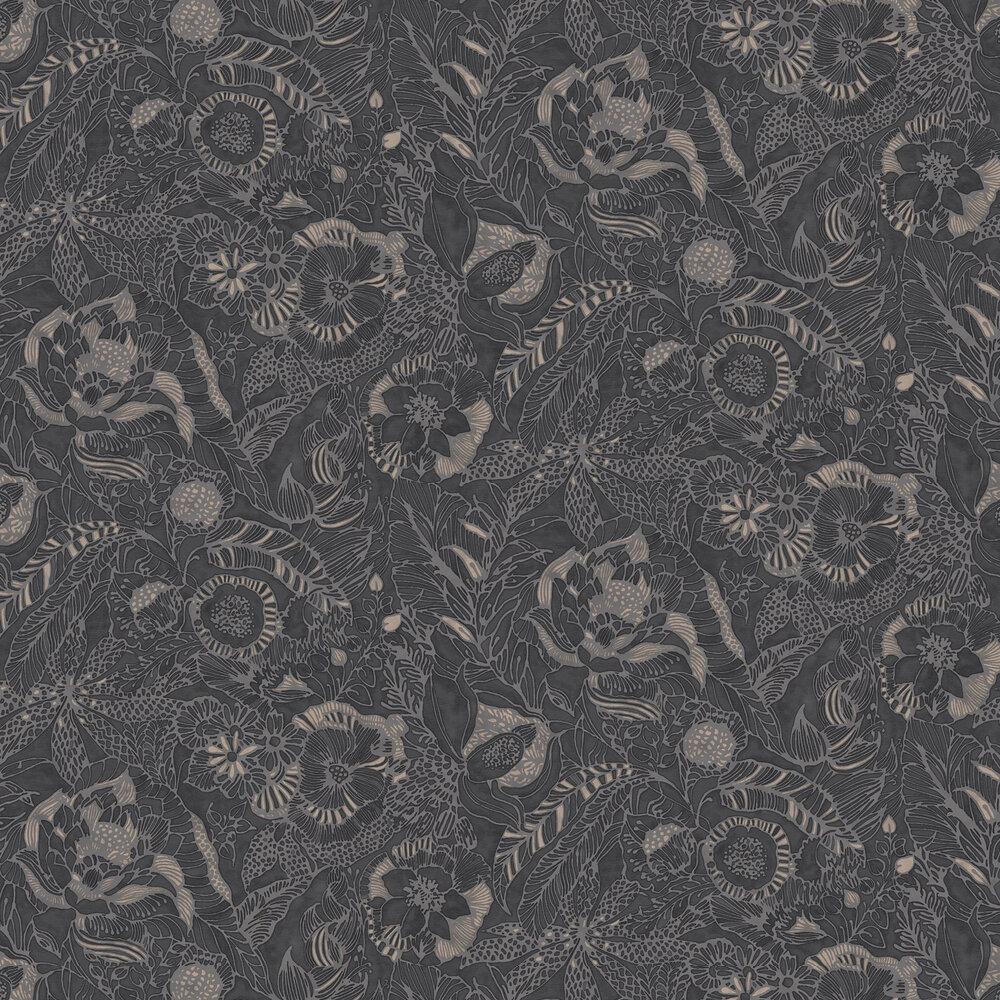 Floral Etching Wallpaper - Black - by Eijffinger