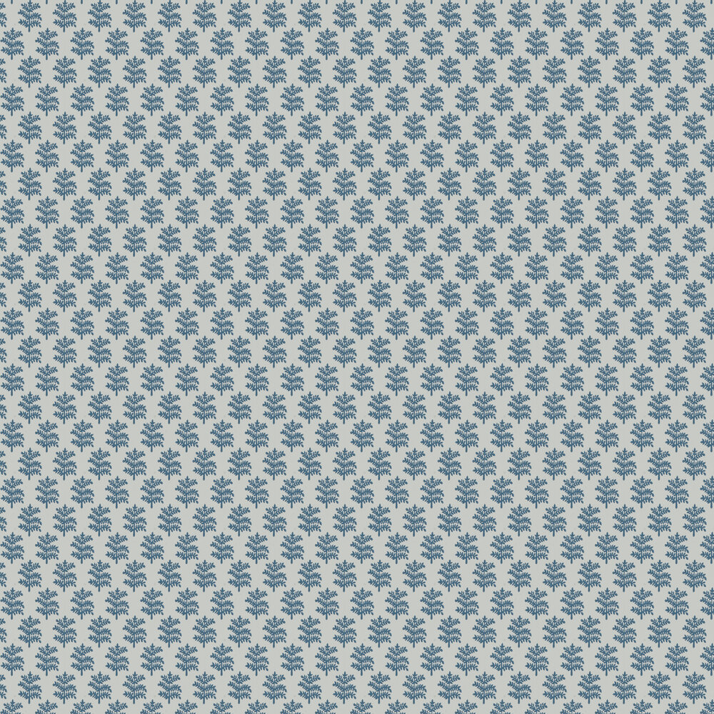 Rowan Wallpaper - Blue - by Jane Churchill