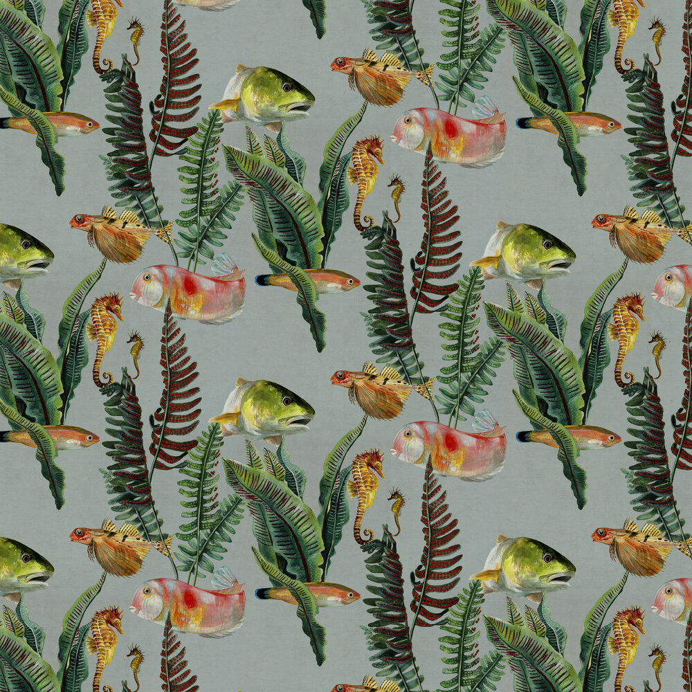 Bank of Fish Wallpaper - Cyan - by Coordonne