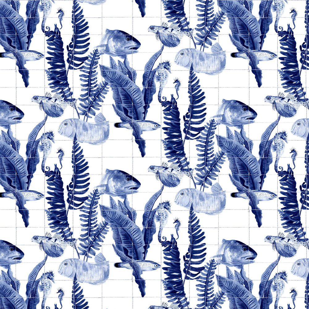 Bank of Fish Wallpaper - Tiles - by Coordonne