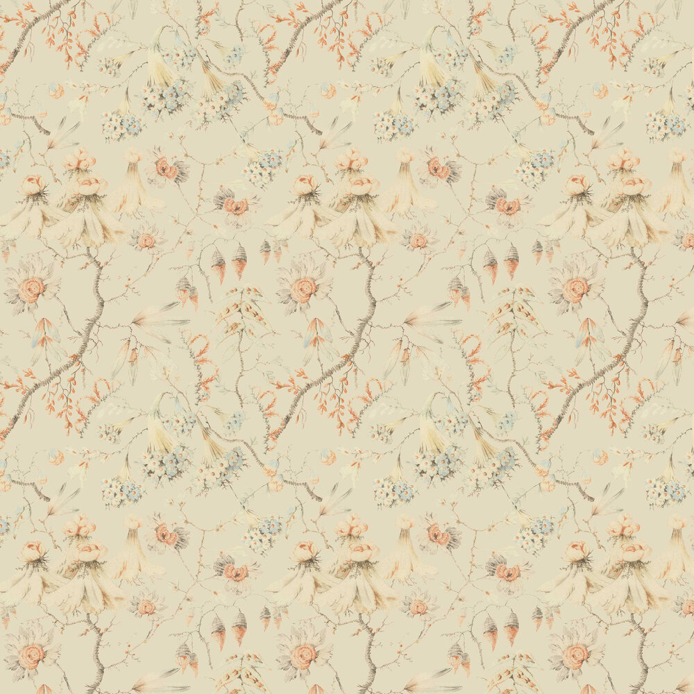 Grandma's Embroidery Wallpaper - Bluewash - by Mind the Gap