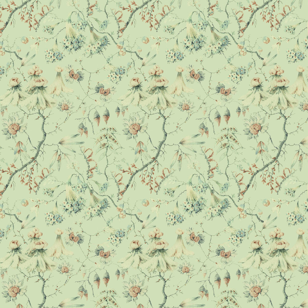 Grandma's Embroidery Wallpaper - Green - by Mind the Gap