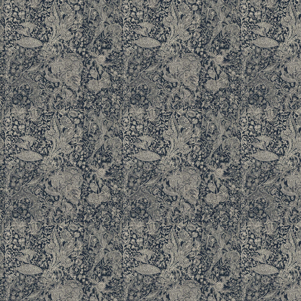 Sarkozi Embroidery Wallpaper - Indigo - by Mind the Gap