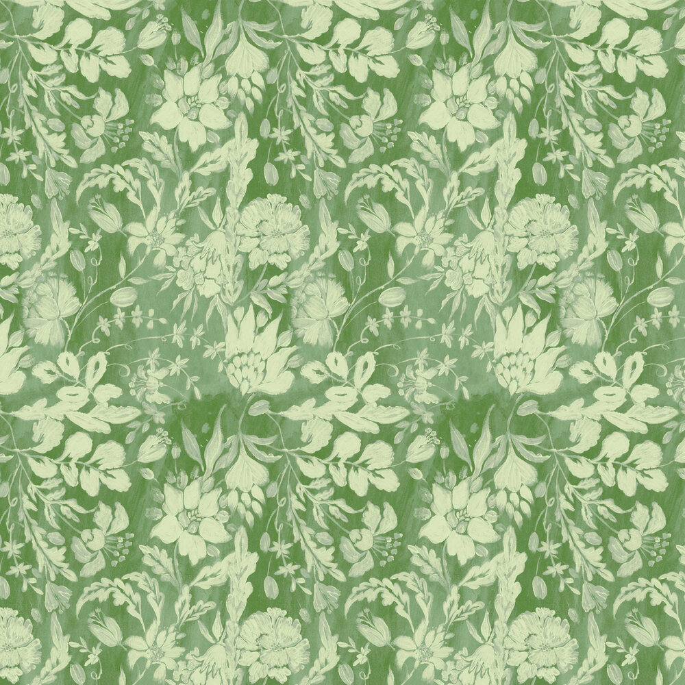 Flowery Ornament Wallpaper - Bud Green - by Mind the Gap