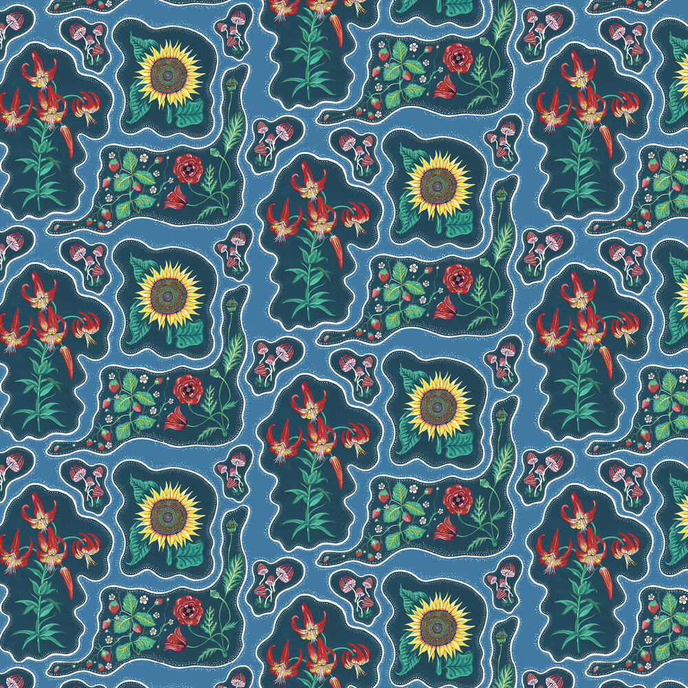 Halcyon Wallpaper - Blue - by Wear The Walls