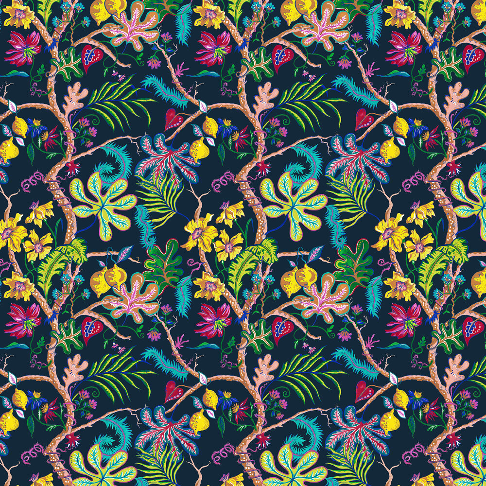 Ophelia Wallpaper - Navy - by Wear The Walls